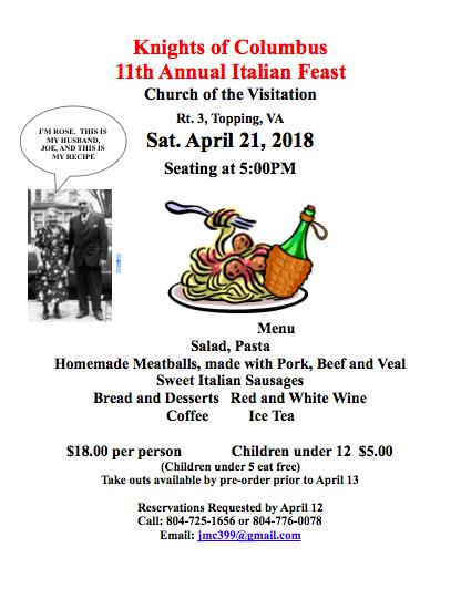 Knights of Columbus 11th Annual Italian Feast